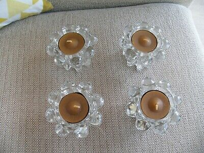 Vintage Reims France Glass Candle Holders Candlesticks X 4 • 12.99£