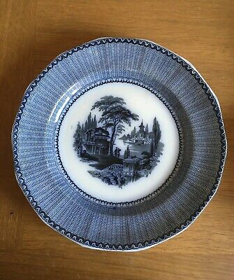 Antique Flow Blue Kin Shan Staffordshire Plate 1942 To 1867 • 40£