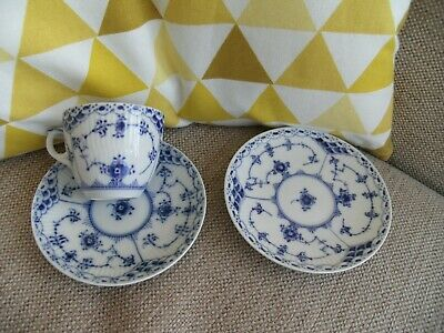 Royal Copenhagen Denmark Blue & White Fluted Coffee Cup & 2 Saucers  • 29.99£