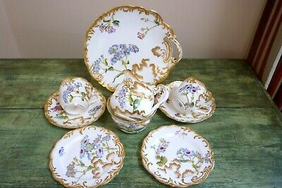 BEAUTIFUL 19TH C GEORGE JONES CRESCENT CHINA PORCELAIN TEA For TWO HAND PAINTED • 13.50£