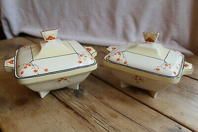 Rare Pair Of Burleigh Ware Serving Dishes Floral Pattern E 5658 5648 Rd 772000 • 75£