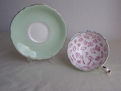Paragon Bone China Fortune Telling Cup And Saucer - Pale Green • 22£