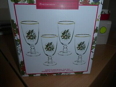 BNWT Portmeirion Holly And Ivy Boxed Goblet Glasses X4 Brand New • 15£