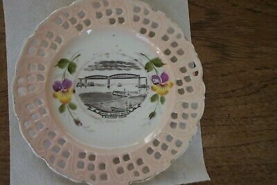 Old Ribbon Plate For Royal Albert Bridge, Devon • 4.99£