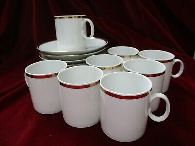 Set Of 8 Thomas Of Germany Medaillon Thick Gold Band China Coffee Cups & Saucers • 25.99£