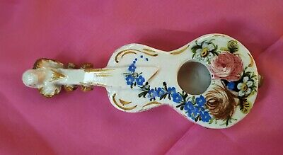 Antique 19th Century French Faience Guitar Wall Pocket. Hand-Painted. JJ Mark • 12£