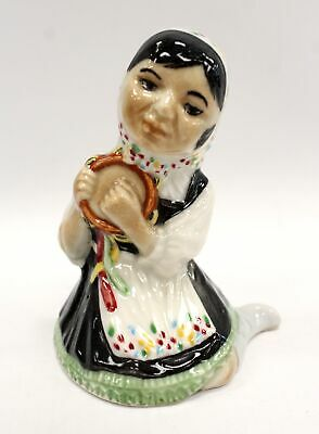 Vintage BRANKSOME CHINA Handpainted Figurine Lady With Tambourine - H18 • 4.99£