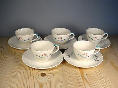 Royal Doulton Mid-Century 1950s Venetian Scenes Five Coffee Cups & Saucers D6449 • 35£