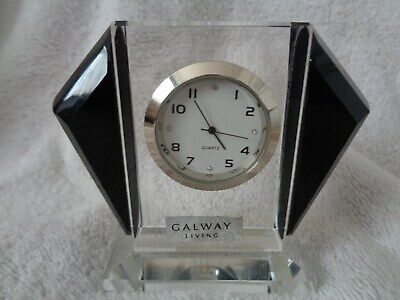 Amazing Little Mantle Clock By Galway Crystal - Perfect • 15£