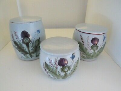 Vintage Buchan Stoneware Thistle Lidded Pots Graduated Sizes Portobello Scotland • 24.75£