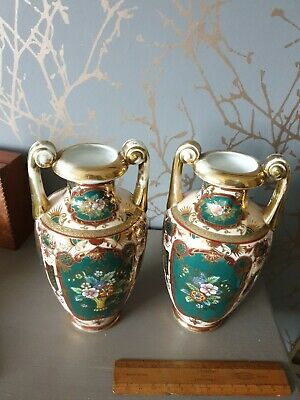 Noritake Vase Hand Decorated With Flowers Gilded Pair Green Pink Mantelpiece  • 8.50£