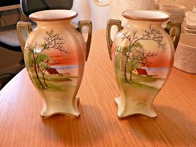A Pair Of Vintage Noritake  Cabin By A Lake  Vases. • 19.99£