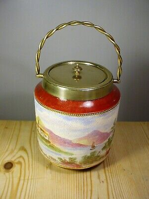 W. Wood & Co. 1920s Lake & Mountains Biscuit Barrel • 35£