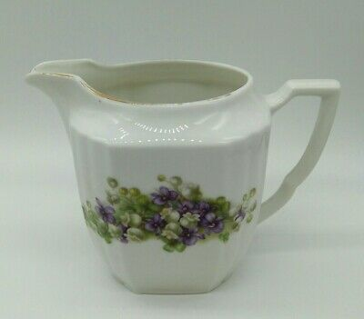 Vintage White Ceramic Jug With Purple Flower Floral Pattern Marked Foreign • 5£
