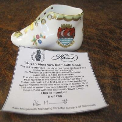 Goviers Limited Edition 6/200 Herend Queen Victoria Sidmouth Crested Ware Shoe • 10£