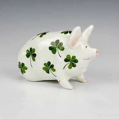 Antique Wemyss Pottery - Hand Pained Clover Decorated Pig - Unusual! • 0.99£
