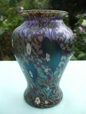 Signed Iridescent Okra Glass 6 1/4  Vase.In Perfect Condition. • 135£