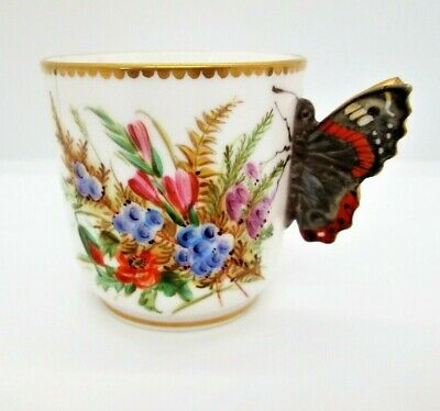 Rare Antique Royal Worcester Bone China Butterfly Handle Demitasse Cup 1875 • 32£