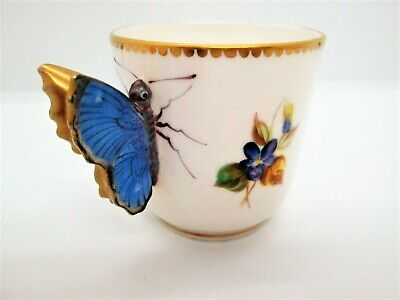 Rare Antique Royal Worcester Bone China Blue Butterfly Handle Demitasse Cup 1875 • 46.64£
