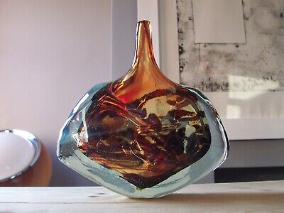 Vintage 1978 Mdina Art Glass Malta, Fish Axe Head, Single Fine Stem Vase, Signed • 24.99£