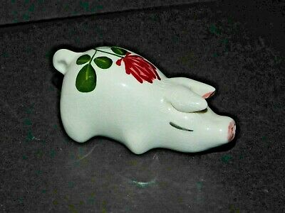 Small Plichta Pig With Pink Clover Decoration London England Wemyss Connection • 18.99£