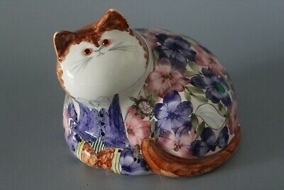 Joan De Bethel 15cm Glass Eye Pottery Rye Cinque Ports Laying Cat #2 • 75£
