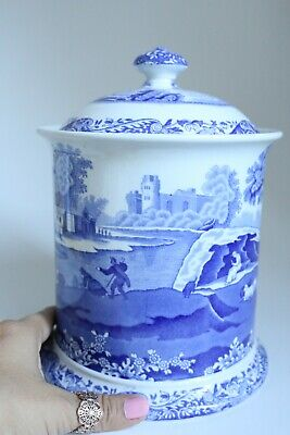 Vintage Collectable Spode Italian Blue And White Large Biscuit Barrel /Jar 20cm  • 35£