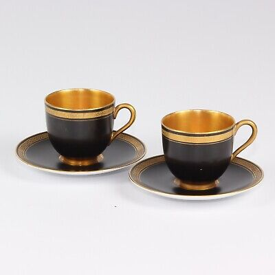 Royal Worcester Art Deco 2 X Black Demitasse Fully Gilded Cups And Saucers • 82£