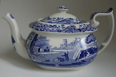 Vintage Spode Italian Large Blue And White Teapot Made In England • 35£