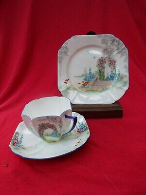 SHELLEY  Archway Of Roses  11606 Queen Anne Shape Art Deco Trio Cup Saucer Plate • 49.99£
