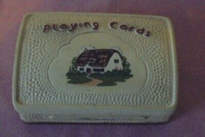 Retro Manor Ware Jersey Country Cottage Ceramic Playing Cards Box / Holder • 3.99£