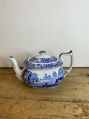 Vintage Spode Blue & White Italian Large Teapot. Good Condition • 30£