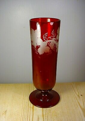 Ruby Red Glass Vase With Acid Etched Vine Pattern • 9.99£