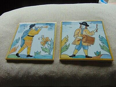 VINTAGE - Set Of 2 Ceramic Tiles - Delft Style - Made In Brazil - Colourful • 22£