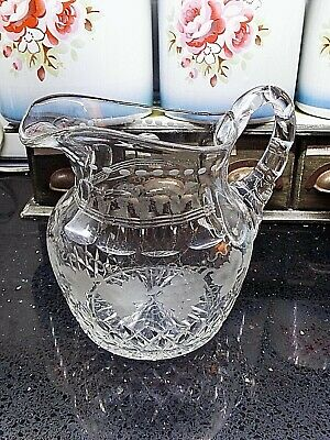 Large Antique Quality Clear Cut Glass Jug Pitcher Etched Vine Leaves & Grapes  • 9.99£