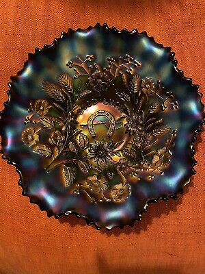 Good Luck Carnival Glass Ruffle Edge Bowl Excellent Condition. • 45£