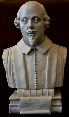 Large 15  Parian Marble Style Bust Of Shakespeare-original In Stratford Church • 80£