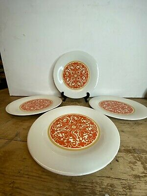 "4 X Vintage Royal Doulton  Seville  Dinner Plates 10.5"" Bright Orange Design • 15£"