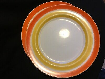 2 X Grays Pottery Orange And Burnt Yellow Large Plates 1930s • 0.99£
