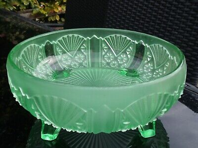 Art Deco Frosted Green Uranium Glass Bowl. • 15£