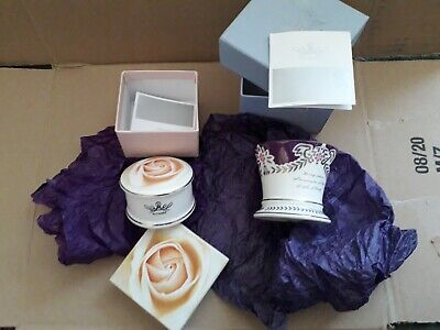 Althorp Diana Rose Pill Box  & Violet China Votive   Unused • 7£