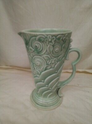 Vintage Wade Art Deco Green Shape 371 Embossed Jug/Pitcher • 8£
