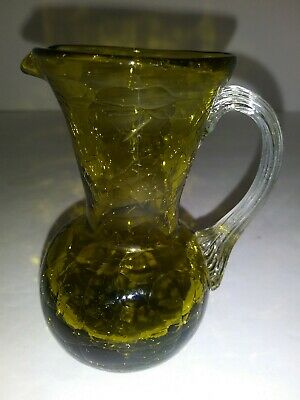 VINTAGE GREEN CRACKLE GLASS CREAMER CUP WITH HANDLE 4inches • 7.71£