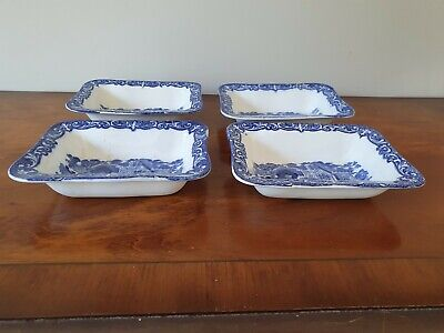 4  Vintage Shredded Wheat Dish George Jones And Sons Abbey 1790 White And Blue • 19.50£