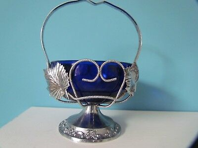 Vintage Blue Glass Lined Dish With Handle • 5£