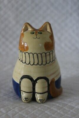 Unsigned Joan De Bethel Attributed 8cm Pottery Cat - Fawn Jumper • 50£