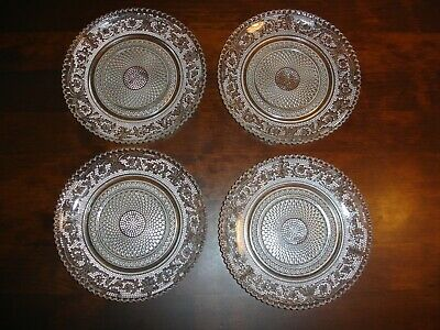 4 X Pressed Glass Embossed Clear Glass Pattern Plates • 12.99£