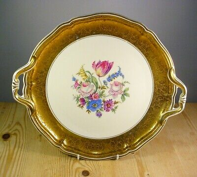 Rosenthal Chippendale Large Gold Border Platter With Flowers • 35£