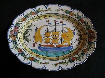 LGE FRENCH/ITALIAN FAIENCE 17  W HAND-PAINTED SERVING PLATTER/WALL HANGER C.50's • 29.99£