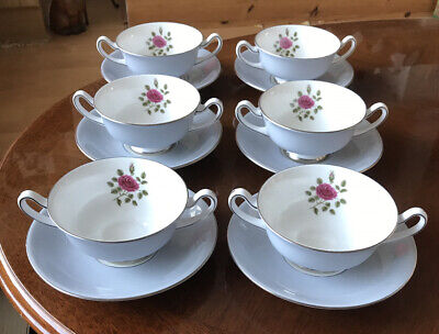6 X Royal Doulton - Chateau Rose - H4940 - Soup Cups & Saucers. Vintage • 12.99£